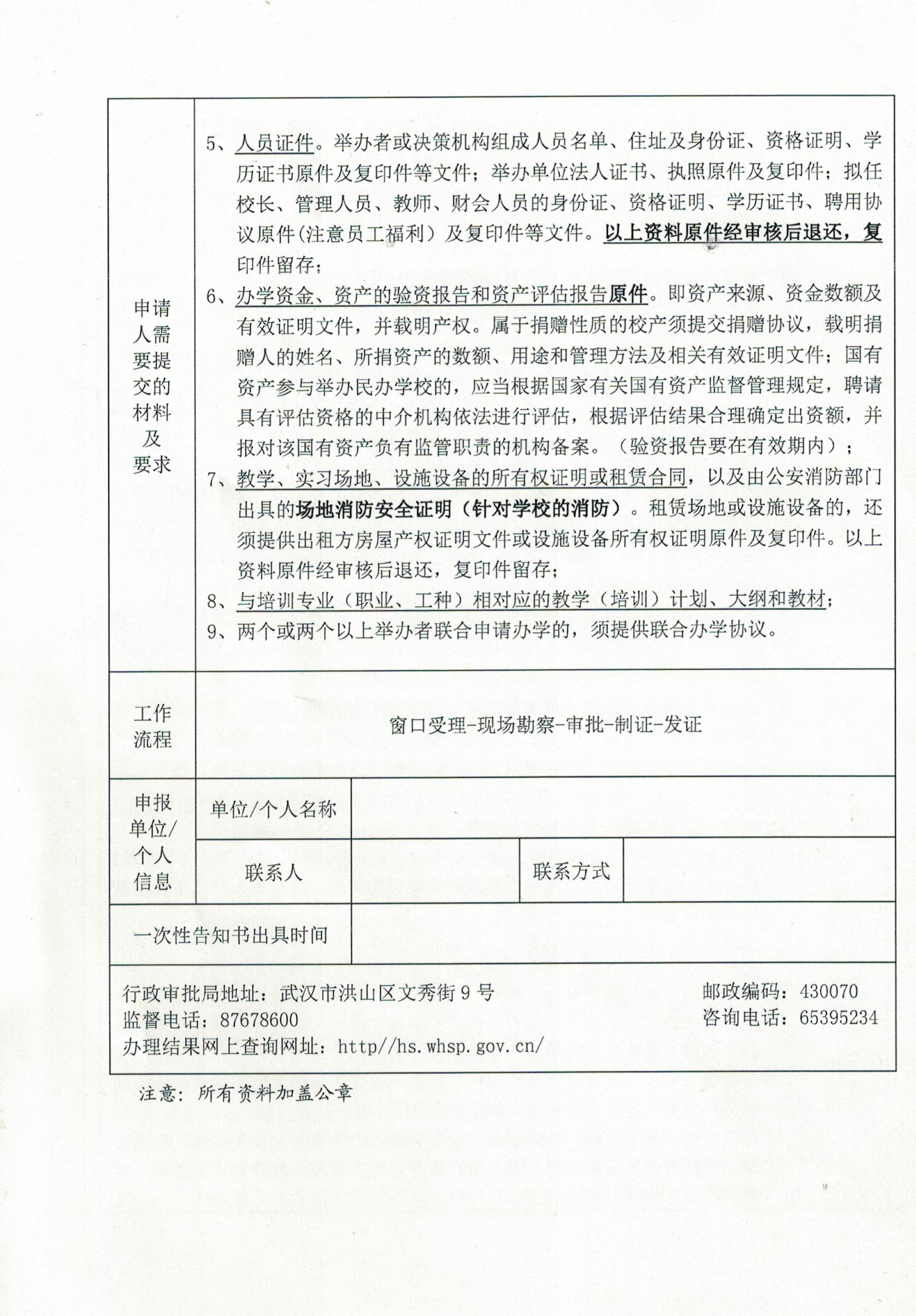洪山区民办职业培训机构办学资格审批一次性告知书